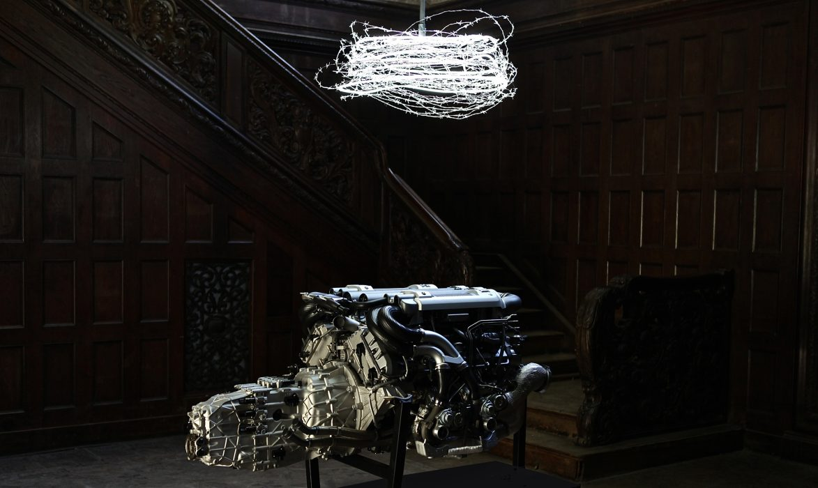 Mariana Vassileva / 2011 / Accelerator / Engine / bugatti veyron / neon / barbed wire / Dimensions variable