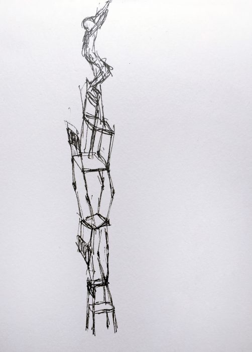 Mariana Vassileva / 2016 / Denkpause / school chairs / skizze / 20x35cm